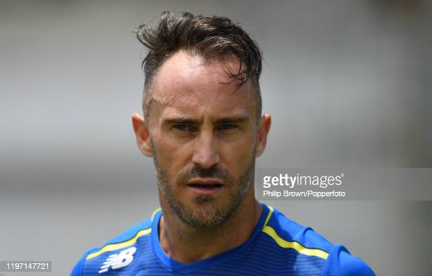 Faf du Plessis of South Africa looks on during a training session at Newlands before the second Test match against England on January 02 2020 in Cape...