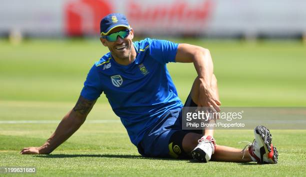 Faf du Plessis of South Africa looks on during a training session at St George's Park before the third Test Match between South Africa and England on...