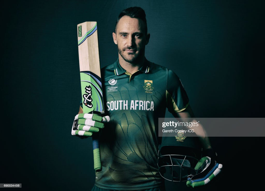 Faf du Plessis of South Africa poses for a portrait at Royal Garden Hotel on May 30, 2017 in London, England.