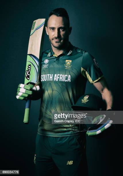 Faf du Plessis of South Africa poses for a portrait at Royal Garden Hotel on May 30 2017 in London England