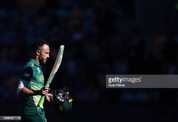 Faf du Plessis of South Africa raises his bat as he leaves the ground after being dismissed for 125 runs during game three of the One Day...