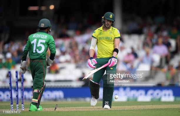Faf du Plessis of South Africa reacts after being bowled by Mehedi Hasan of Bangladesh during the Group Stage match of the ICC Cricket World Cup 2019...