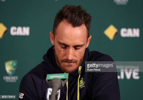 Faf du Plessis of South Africa speaks during a press conference before a South Africa training session at Adelaide Oval on November 23 2016 in...