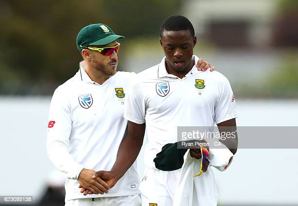 Faf du Plessis of South Africa speaks with Kagiso Rabada of South Africa during day three of the Second Test match between Australia and South Africa...