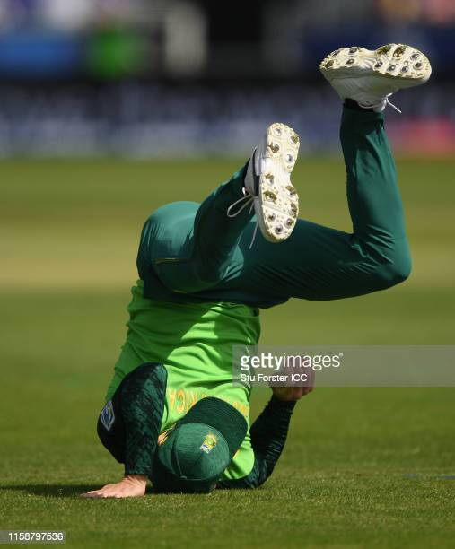 Faf Du Plessis of South Africa takes a catch to dismiss Avishka Fernando of Sri Lanka during the Group Stage match of the ICC Cricket World Cup 2019...