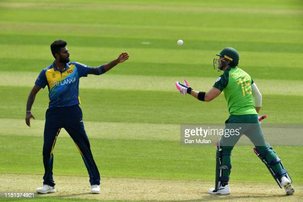 Faf du Plessis of South Africa throws the ball to Isuru Udana of Sri Lanka during the ICC Cricket World Cup 2019 Warm Up match between Sri Lanka and...