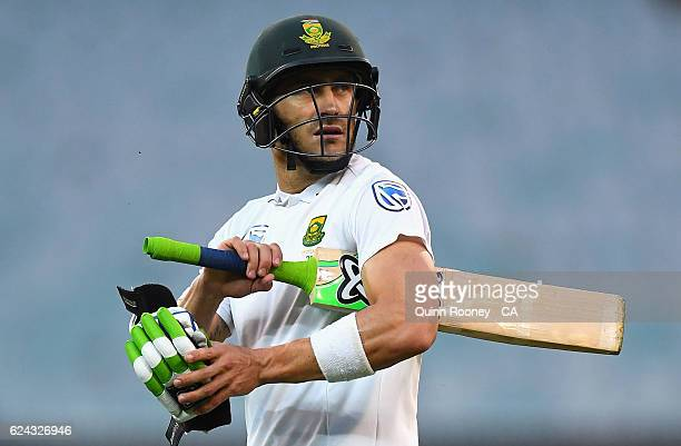Faf du Plessis of South Africa walks from the field after being dismissed during the One Day International tour match between Victoria and South...