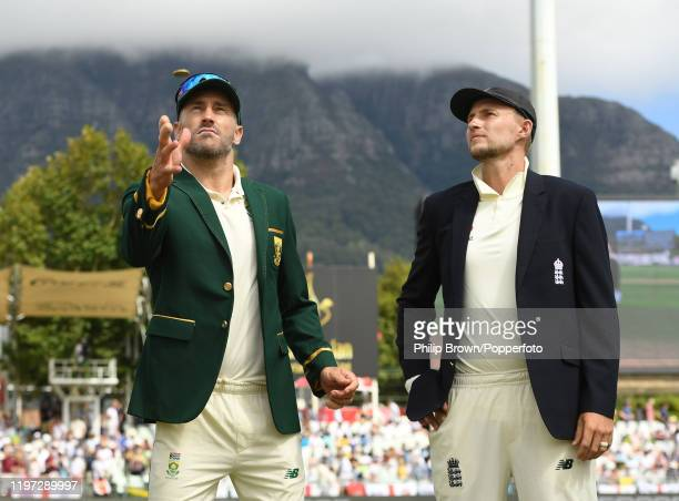 Faf du Plessis of South Africa with Joe Root of England at the coin toss before Day One of the Second Test between England and South Africa on...