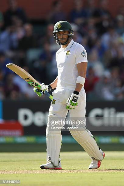 Faf du Plessis of Southe Africa celebrates after scoring a half century during day one of the Third Test match between Australia and South Africa at...