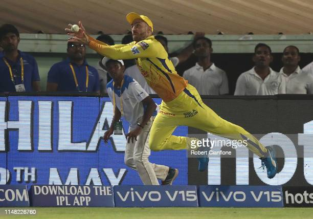 Faf Du Plessis of the Chennai Super Kings attempts to take a catch during the Indian Premier League IPL Qualifier Final match between the Delhi...