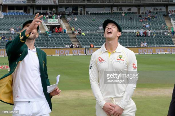 Faf du Plessis of the Proteas and Tim Paine of Australia during day 1 of the 4th Sunfoil Test match between South Africa and Australia at Bidvest...