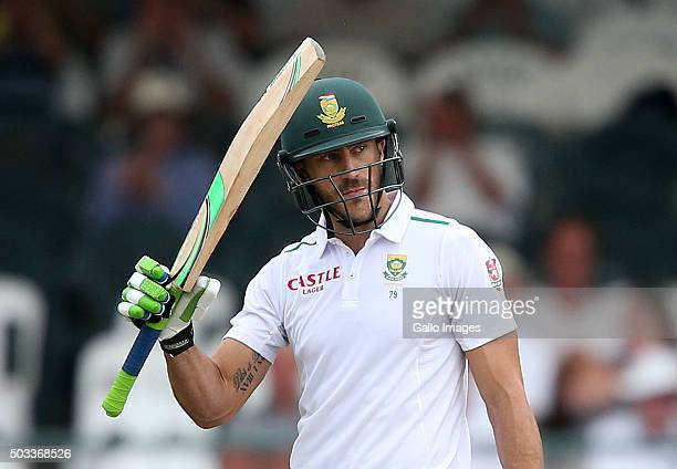 Faf du Plessis of the Proteas celebrates during day 3 of the 2nd Test match between South Africa and England at PPC Newlands on January 04 2016 in...