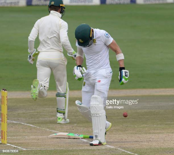 Faf du Plessis of the Proteas reacts to being hit on the hand during day 3 of the 4th Sunfoil Test match between South Africa and Australia at...