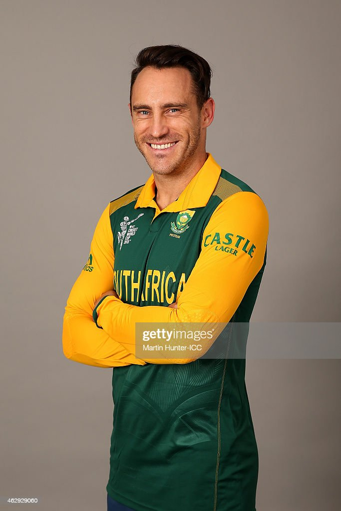 Faf du Plessis poses during the South Africa 2015 ICC Cricket World Cup Headshots Session at the Rydges Latimer on February 7, 2015 in Christchurch, New Zealand.