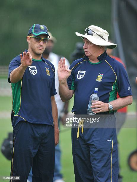 Faf du Plessis speaks to coach Duncan Fletcher during the South Africa national cricket team nets session at Bidvest Wanderers Stadium on January 14,...