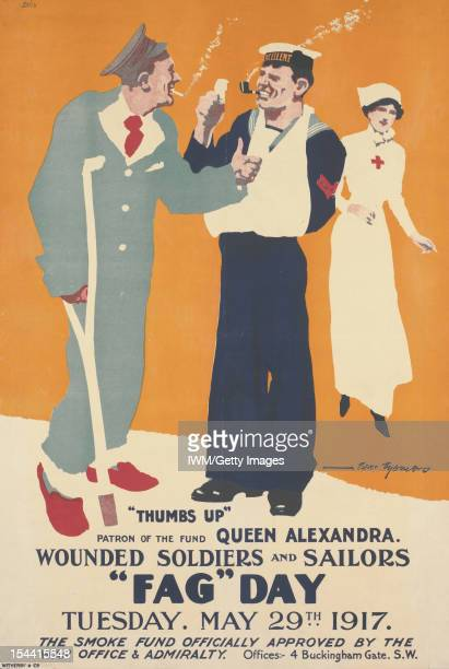 Fag Day Fulllength depictions of a wounded soldier with a crutch smoking a cigarette and a wounded sailor with his arm in a slingsmoking a pipe In...
