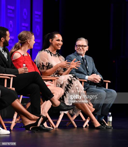 O T Fagbenle Yvonne Strahovski and Amanda Brugel attend The Paley Center For Media's 35th Annual PaleyFest Los Angeles with 'The Handmaid's Tale' at...