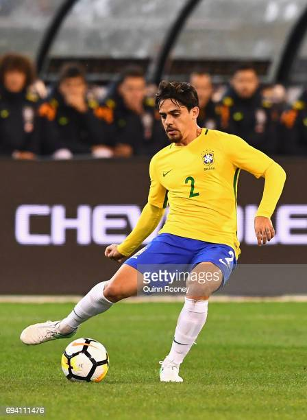 Fagner Lemos of Brazil passes the ball during the Brazil Global Tour match between Brazil and Argentina at Melbourne Cricket Ground on June 9 2017 in...
