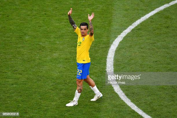 Fagner of Brazil celebrates victory following the 2018 FIFA World Cup Russia Round of 16 match between Brazil and Mexico at Samara Arena on July 2...