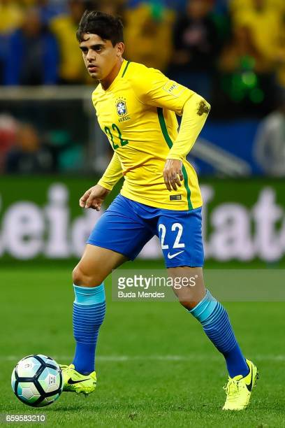 Fagner of Brazil controls the ball during a match between Brazil and Paraguay as part of 2018 FIFA World Cup Russia Qualifier at Arena Corinthians on...