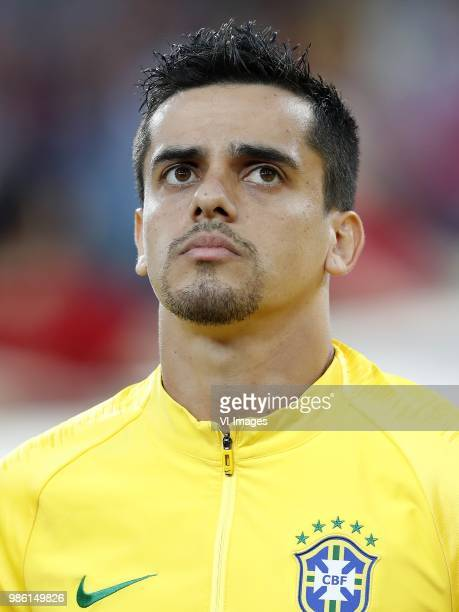 Fagner of Brazil during the 2018 FIFA World Cup Russia group E match between Serbia and Brazil at the Otkrytiye Arena on June 27 2018 in Moscow Russia