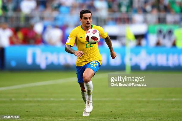 Fagner of Brazil in action during the 2018 FIFA World Cup Russia Round of 16 match between Brazil and Mexico at Samara Arena on July 2 2018 in Samara...