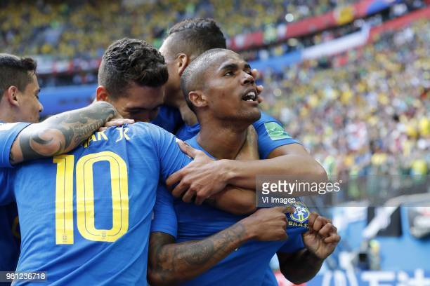 Fagner of Brazil Neymar of Brazil Roberto Firmino of Brazil Casemiro of Brazil Douglas Costa of Brazil during the 2018 FIFA World Cup Russia group E...