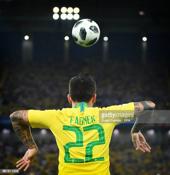 Fagner of Brazil takes a throw in during the 2018 FIFA World Cup Russia group E match between Serbia and Brazil at Spartak Stadium on June 27 2018 in...