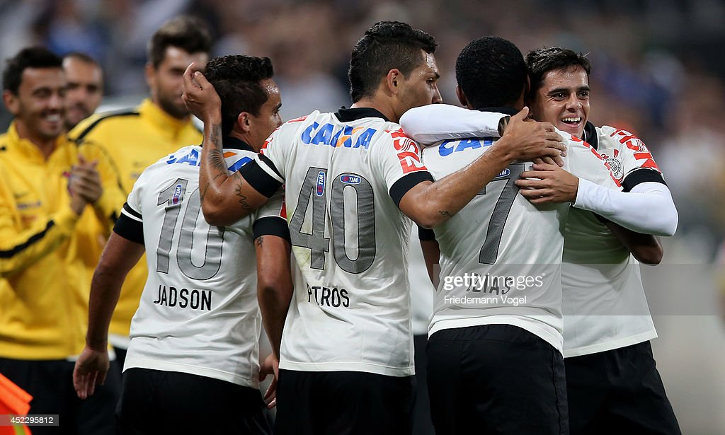 Fagner (R) of Corinthians celebrates scoring the second goal during the match between Corinthians and Internacional for the Brazilian Series A 2014 at Arena Corinthians on July 17, 2014 in Sao Paulo, Brazil.