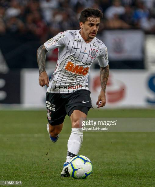 Fagner of Corinthians controls the ball during a match between Corinthians and Chapecoense for the Brasileirao Series A 2019 at Arena Corinthians on...