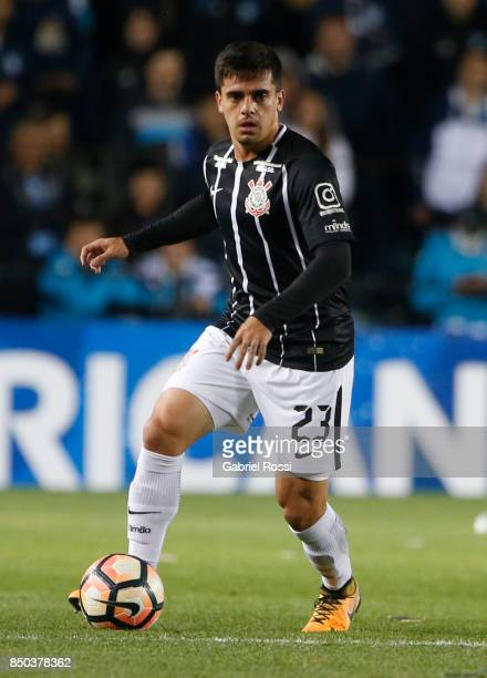 Fagner of Corinthians drives the ball during a second leg match between Racing Club and Corinthians as part of round of 16 of Copa CONMEBOL...
