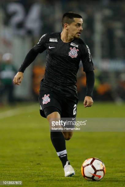 Fagner of Corinthians drives the ball during sixteen first leg match between Colo Colo and Corinthians as part of Copa CONMEBOL Libertadores 2018 at...