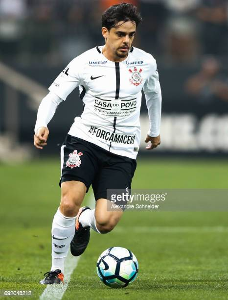 Fagner of Corinthians in action during the match between Corinthians and Santos for the Brasileirao Series A 2017 at Arena Corinthians stadium on...