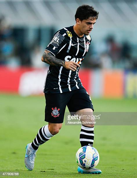 Fagner of Corinthians in action during the match between Santos and Corinthians for the Brazilian Series A 2015 at Vila Belmiro stadium on June 20...