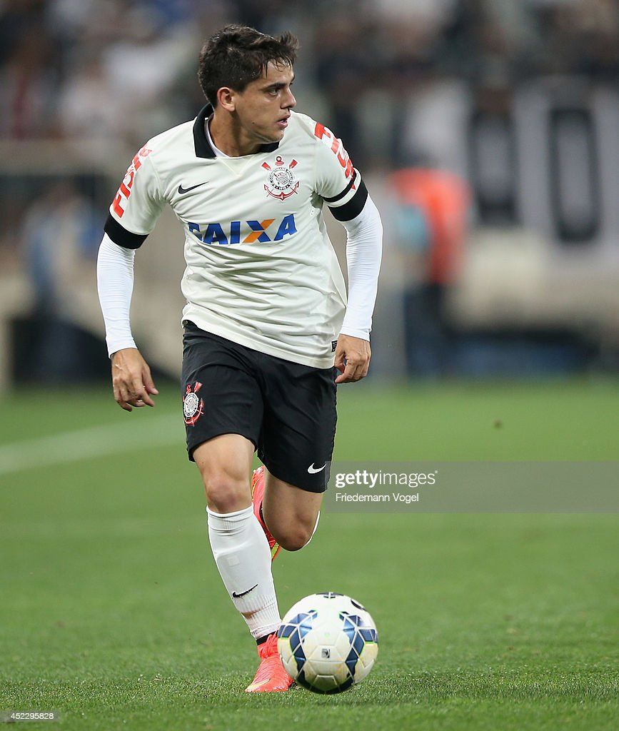 Fagner of Corinthians runs with the ball during the match between Corinthians and Internacional for the Brazilian Series A 2014 at Arena Corinthians on July 17, 2014 in Sao Paulo, Brazil.