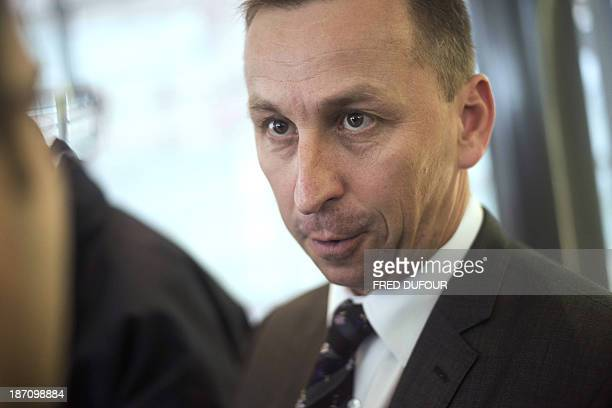 FagorBrandt, a French subsidiary of the Spanish electrical appliance maker Fagor, CEO Thierry Leonard talks to journalists on November 6, 2013 in...