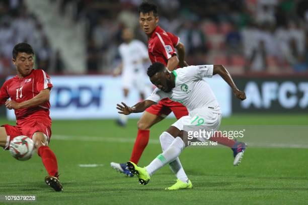 Fahad Al Muwallad of Saudi Arabia scores his teams fourth goal during the AFC Asian Cup Group E match between Saudi Arabia and North Korea at Rashid...