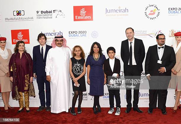 Fahad al Sukait actress Waad Mohammed director Haifaa Al Mansour and actor Abdulrahman al Guhani attend the 'Wadjda' premiere during day four of the...
