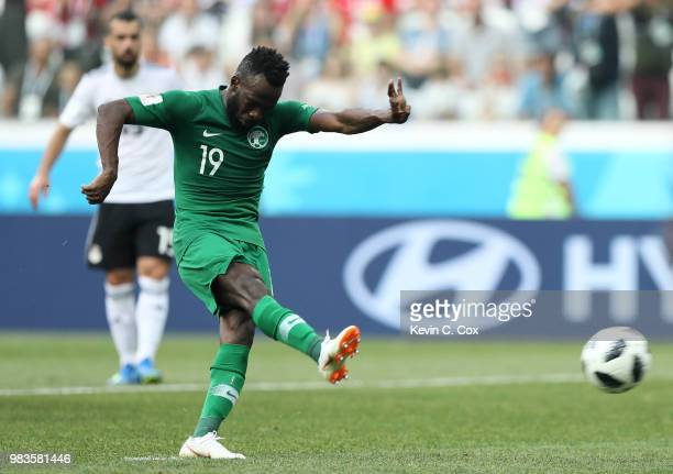 Fahad Almuwallad of Saudi Arabia misses a penalty during the 2018 FIFA World Cup Russia group A match between Saudia Arabia and Egypt at Volgograd...