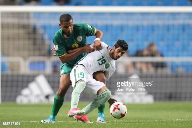 Fahad Alrashidi of Saudi Arabia and Waly Diouf of Senegal compete for the ball during the FIFA U20 World Cup Korea Republic 2017 group F match...