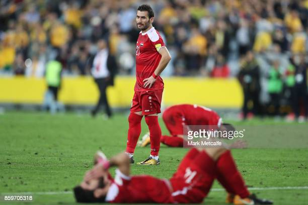 Fahad Youssef of Syria looks dejected after defeat in the 2018 FIFA World Cup Asian Playoff match between the Australian Socceroos and Syria at ANZ...
