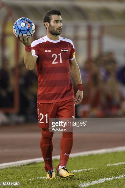 Fahad Youssef of Syria with the ball during the FIFA 2018 World Cup Asian Playoff Leg 1 match between Syria and Australia at the Hang Jebat Stadium