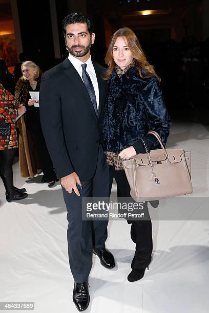 Fahd Hariri and his wife Maya Hariri attend the Elie Saab show as part of Paris Fashion Week Haute Couture Spring/Summer 2014 on January 22 2014 in...