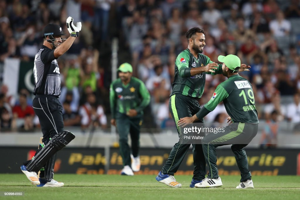 Faheem Ashraf of Pakistan celebrates his wicket of Glenn Phillips of the Blackcaps during the International Twenty20 match between New Zealand and Pakistan at Eden Park on January 25, 2018 in Auckland, New Zealand.