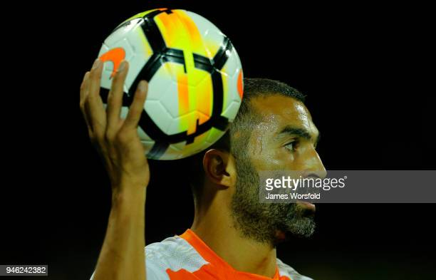 Fahid Ben Khalfallah of the Brisbane Roar looks for a team mate to throw to during the round 27 ALeague match between the Perth Glory and the...