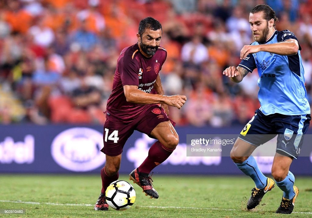 Fahid Ben Khalfallah of the Roar takes on the defence during the round 15 A-League match between the Brisbane Roar and Sydney FC at Suncorp Stadium on January 8, 2018 in Brisbane, Australia.
