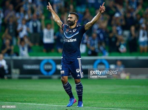 Fahid Ben Khalfallah of the Victory celebrates after scoring a goal during the round 23 ALeague match between Melbourne City FC and Perth Glory at...