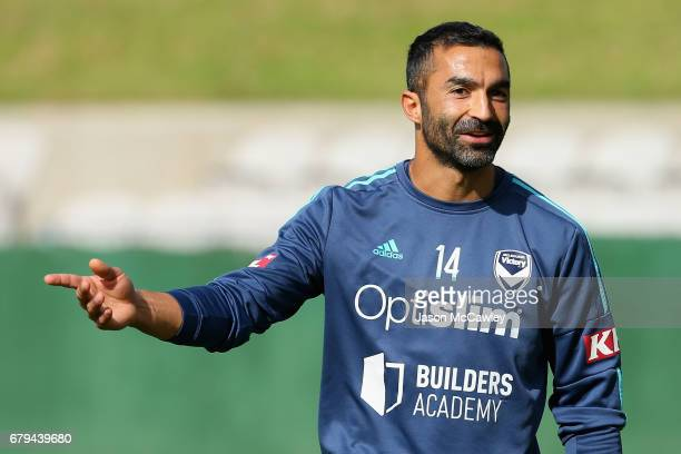 Fahid Ben Khalfallah of the Victory during a Melbourne Victory ALeague training session at WIN Jubilee Stadium on May 6 2017 in Sydney Australia