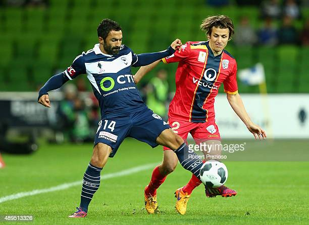 Fahid Ben Khalfallah of Victory controls the ball during the FFA Cup Quarter Final match between the Melbourne Victory and Adelaide United at AAMI...