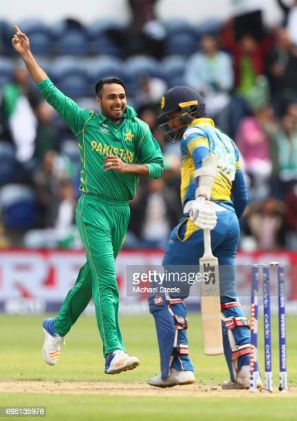 Fahim Ashraf of Pakistan celebrates bowling Dinesh Chandimal of Sri Lanka during the ICC Champions Trophy match between Sri Lanka and Pakistan at the...